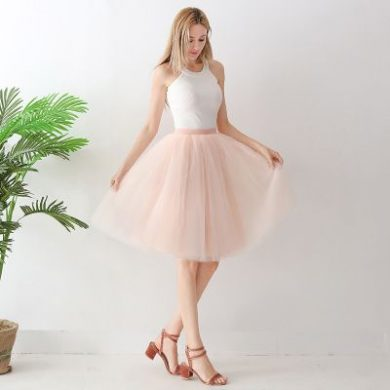 TUTU tylová sukně dámská - meruňková 65 cm, 5 vrstev
