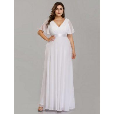 Bílé svatební šaty s volánkovým rukávem EP09890WH