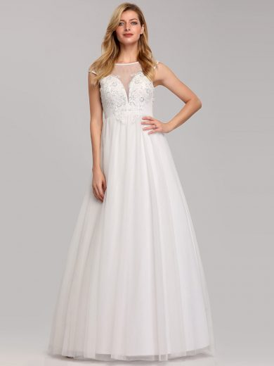 Bílé svatební šaty Ever-Pretty EP07839CR