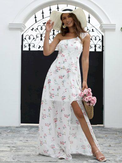Letní květinové šaty Ever-Pretty EP07240WH Bílé