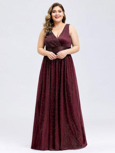 Společenské šaty Ever-Pretty EZ07764BD Burgundy třpytivé