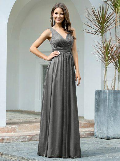 Společenské šaty Ever-Pretty EZ07764GY Šedé třpytivé