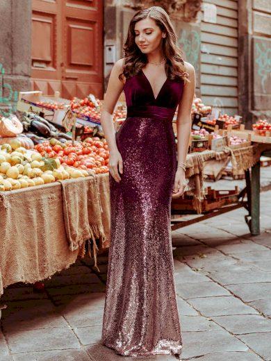Společenské šaty Ever-Pretty Mermaid EZ07767BD Burgundy