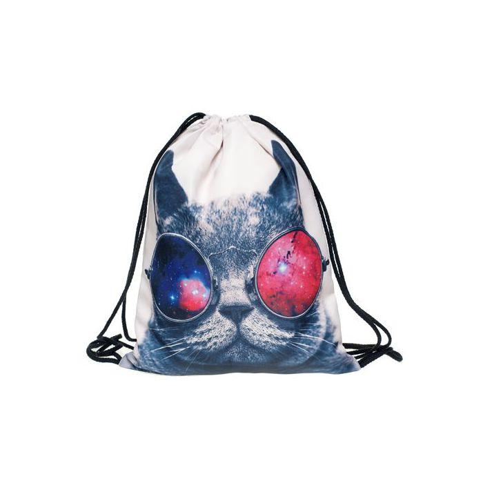 Plátěný vak s 3D potiskem Kočka s brýlemi Timy F27581