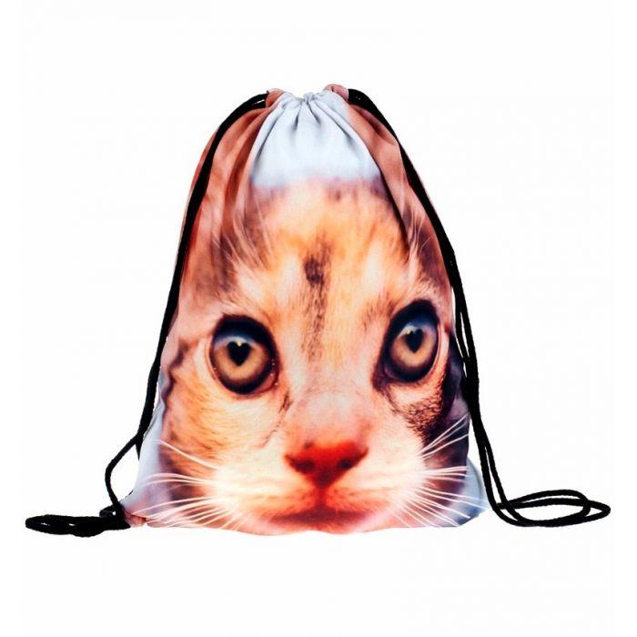 Plátěný vak s 3D potiskem Hnědá kočka Timy F27581