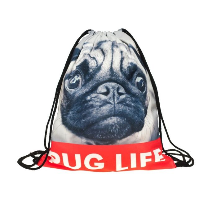 Plátěný vak s 3D potiskem Pug life Timy F27581