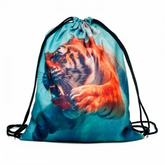 Plátěný vak s 3D potiskem Tygr pod vodou Timy F27581