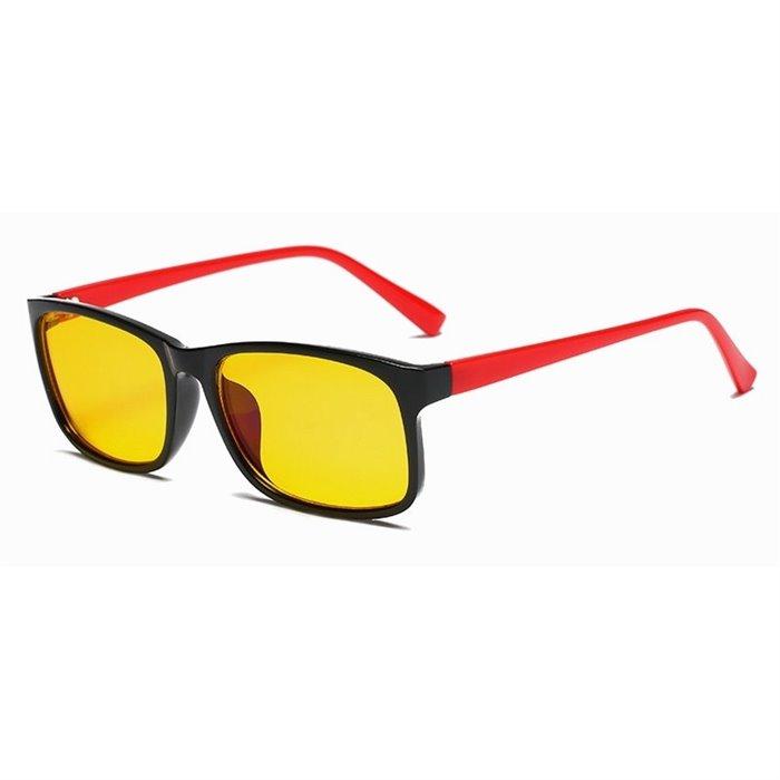 Brýle s filtrem modrého světla bez dioptrii KWE12- Červené Wayfarer style 8012-RD