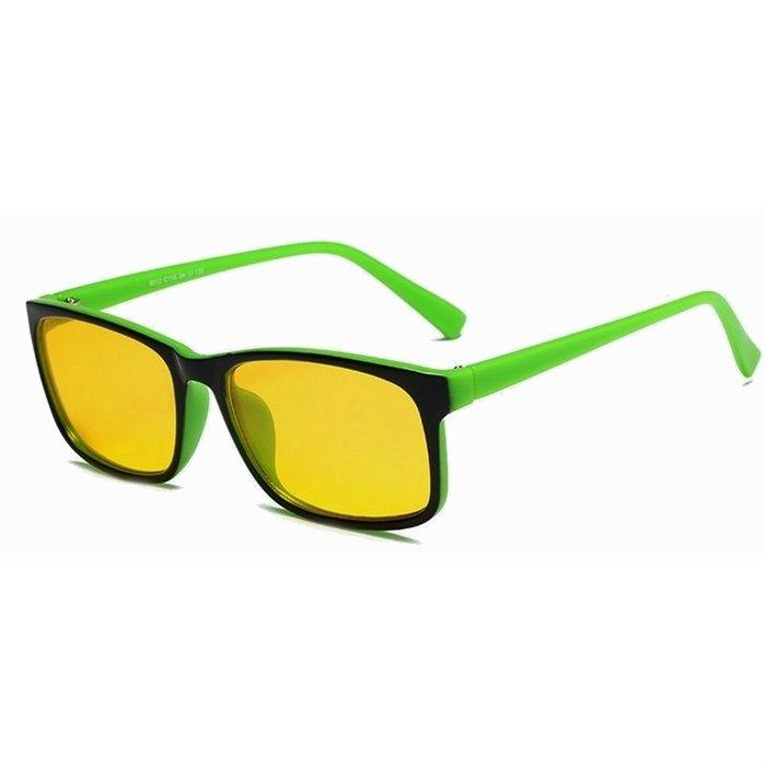 Brýle s filtrem modrého světla bez dioptrii KWE14- Zelené Wayfarer style 8012-GN