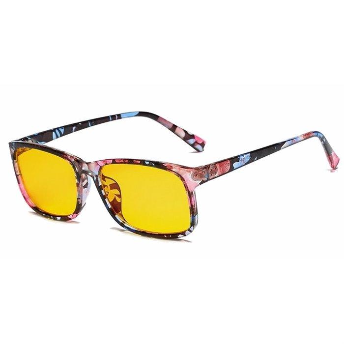 Brýle s filtrem modrého světla bez dioptrii KWE15 - Flowers Wayfarer style 8012-FL