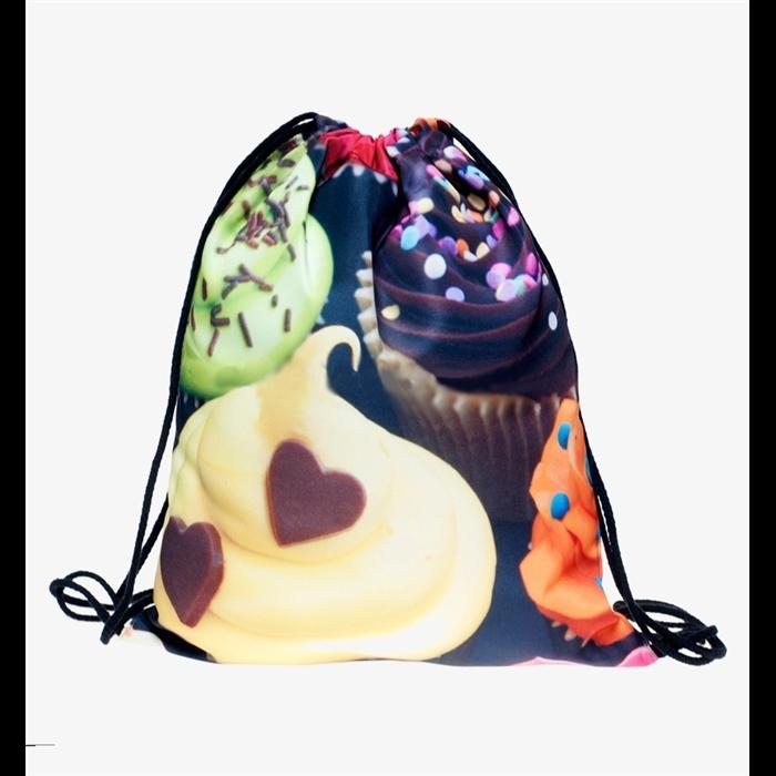 Plátěný vak s 3D potiskem Sweet Cupcakes Who cares BLX-11