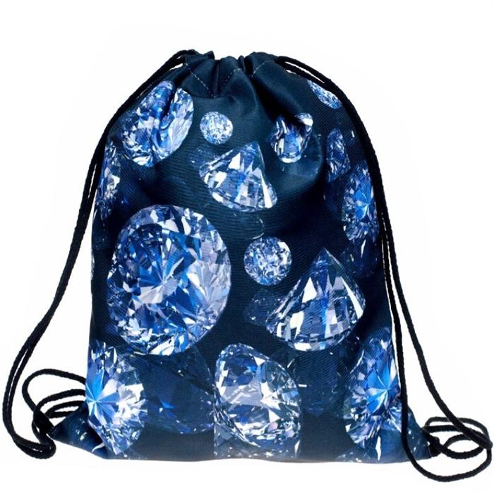 Plátěný vak s 3D potiskem Diamonds Who cares BLX-12