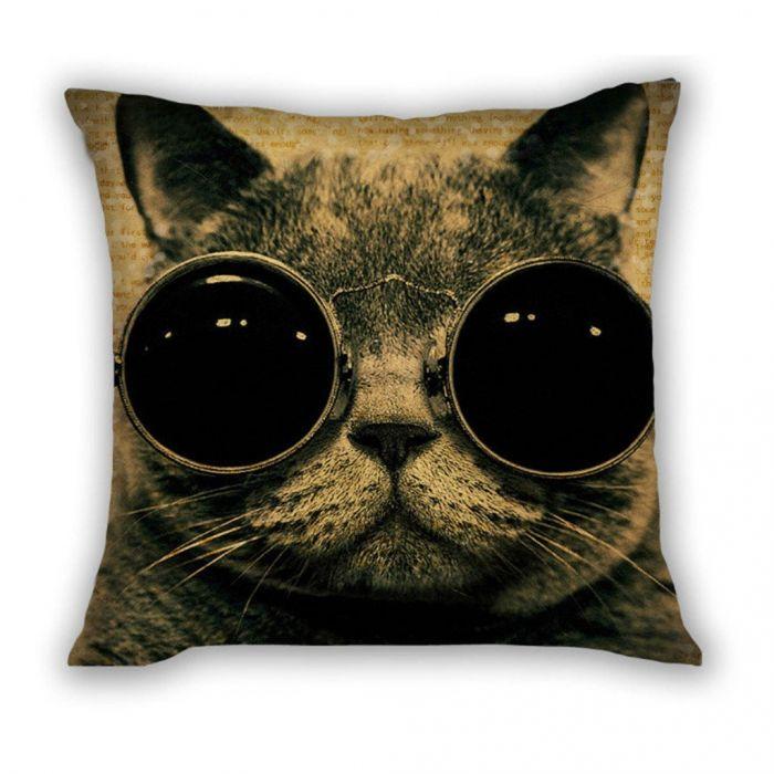Huado dekorační povlak na polštář 45x45 Kočka s brýlemi Huado PLW-25971