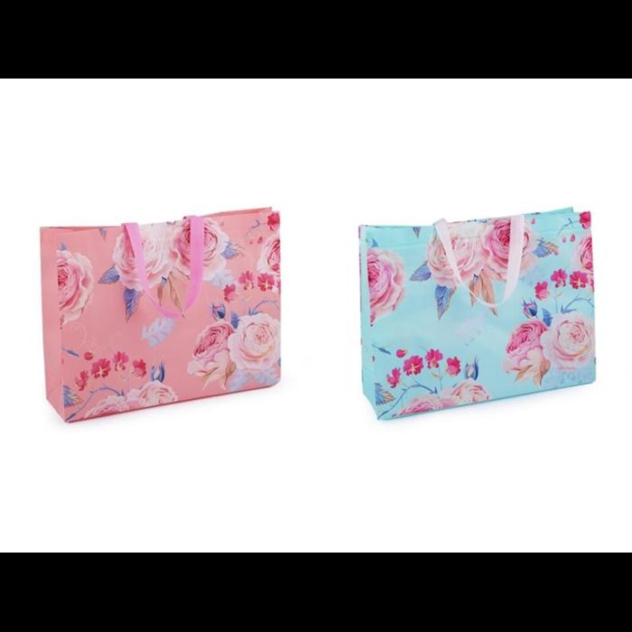 Nákupní taška s květy velká 32x42 cm Růže Lifestyle F810221