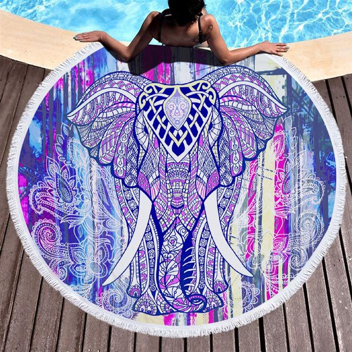 Kruhová plážová osuška Barevný slon Allepaznokcie 20080102350363157