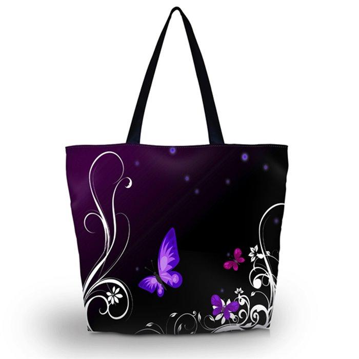 Huado nákupní a plážová taška - Purpuroví motýlci Huado GW-15600