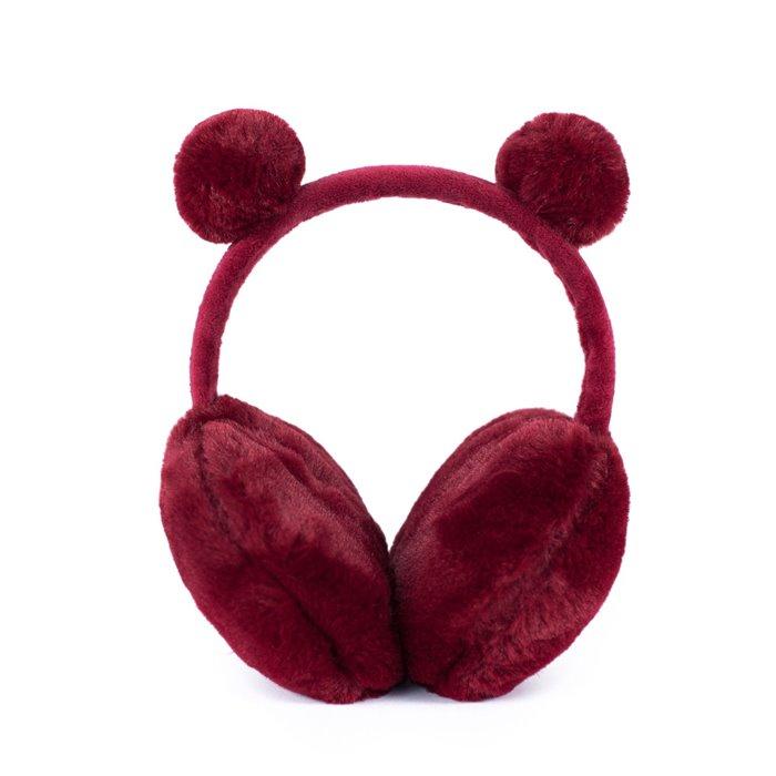Plyšové klapky na uši Funny bear Červené Artofpolo FAcz19409ss02