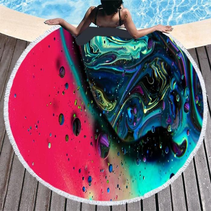 Kruhová plážová osuška Barevné Galaxy Allepaznokcie 20080102350363157