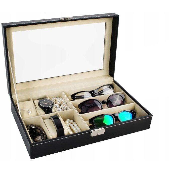 Organizér na hodinky a brýle černý BMD 8497
