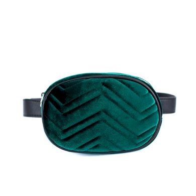 Crossbody řetízková ledvinka Velur zelená Artofpolo FAtr19383ss01