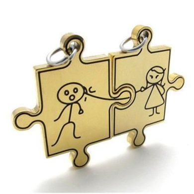 Double přívěšek puzzle panáček a panenka 3 Impress Jewelry SSDP038