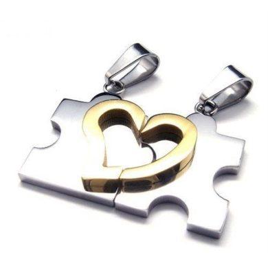 Ocelové přívěsky pro dvojici puzzle zlaté Impress Jewelry F225