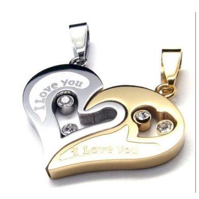 Ocelové přívěsky pro dva I love You zlatý Impress Jewelry F214