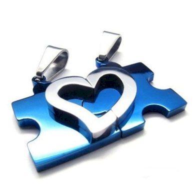 Ocelové přívěsky puzzle srdce modré  Impress Jewelry F223