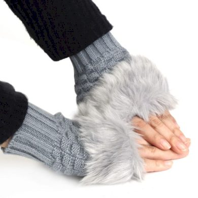 Pletené rukavice bezprstové s kožíškem šedé Cixi F547