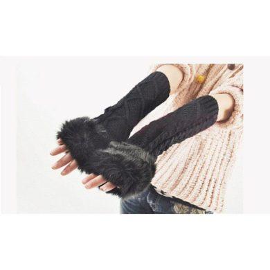 Dámské Dlouhé rukavice bez prstů s kožíškem Cixi F5489