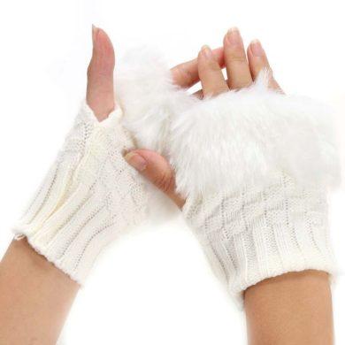 Pletené rukavice bezprstové s kožíškem bílé Cixi F548