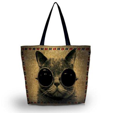 Huado nákupní a plážová taška - Kočka s brýlemi Huado outdooronsale365