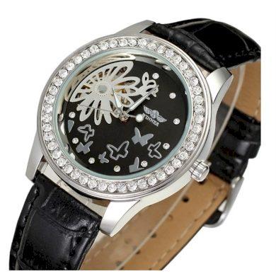 Dámské hodinky Winner Flower- černé Winner RL8009M3RS5