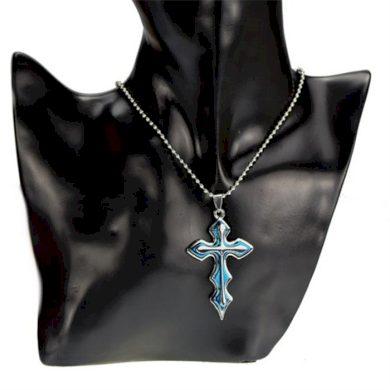 Přívěsek křížek Marcus modrý s řetízkem Impress Jewelry BIZ016