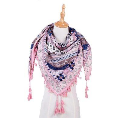 Tassel dámský šátek růžová 130 cm Cixi F323647