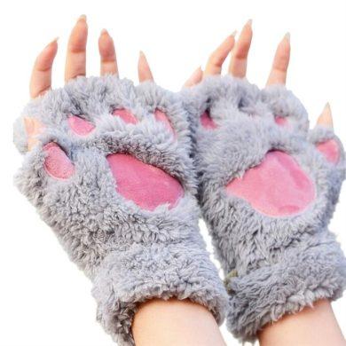 Plyšové rukavice bezprsté šedé medvědí tlapky Cixi F635475