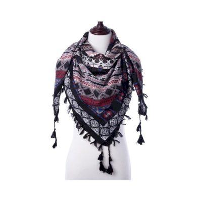 Tassel dámský šátek černý 130 cm Cixi F323647