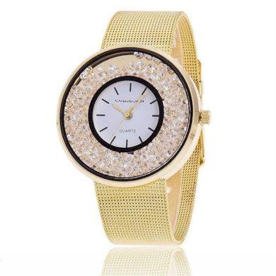 Svar Dámské kovové hodinky s kamínky zlaté Shim Watch F23654Z