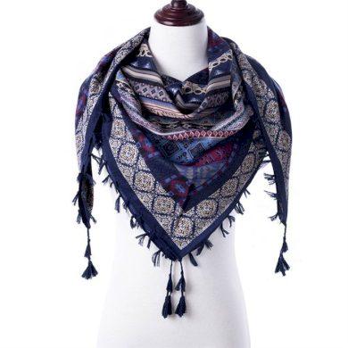 Tassel dámský šátek modrý 130 cm Cixi F323647M
