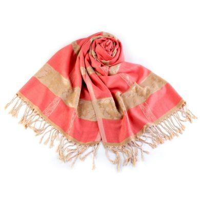 Dámská Šála s ornamenty 180 cm Růžová Cixi F720946SS01