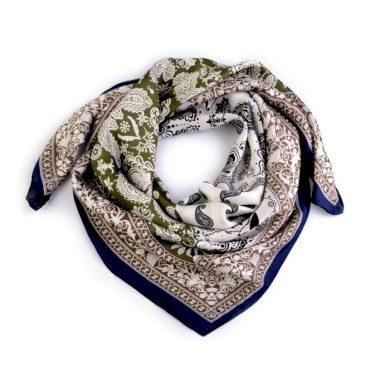 Dámský šátek s ornamenty Paisley 70 cm Zelený Cixi F720952SS03