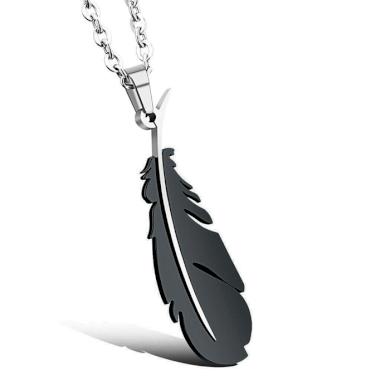 Přívěsek z chirurgické oceli - Černé pero Impress Jewelry SSP085black