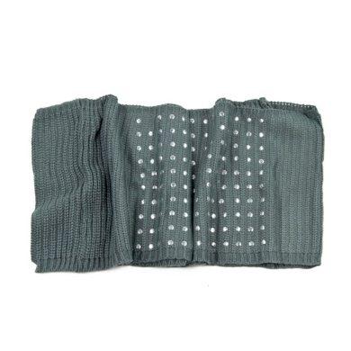 ArtOfPolo kruhový pletený šál s cvoky Šedý  FAsz13341ss09