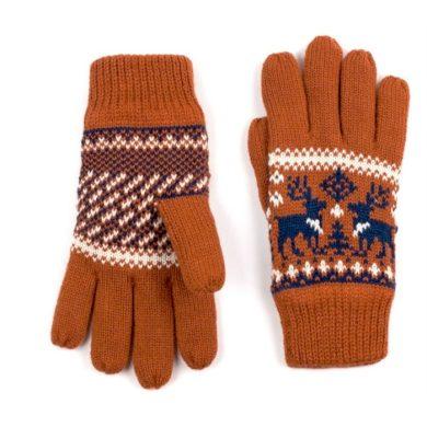 ArtOfPolo dámské rukavice se soby Oranžové Artofpolo FArk13410ss02