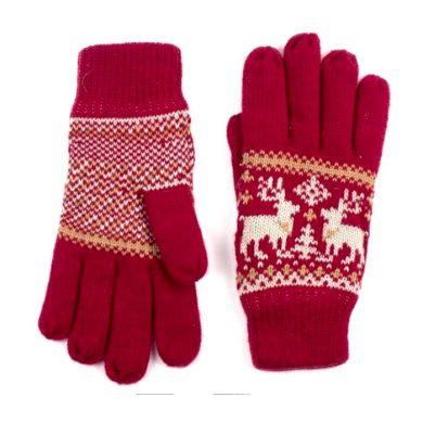 ArtOfPolo dámské rukavice se soby Červené Artofpolo FArk13410ss03