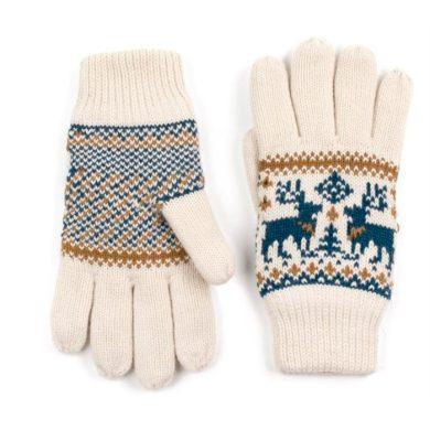ArtOfPolo dámské rukavice se soby Béžové Artofpolo FArk13410ss04