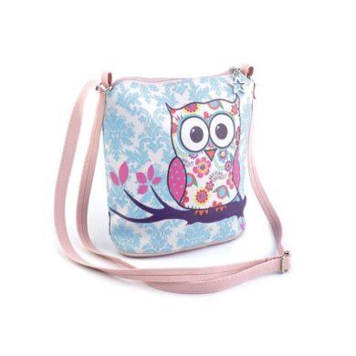 Dívčí kabelka přes rameno se sovičkami Modrá Lifestyle F720542ss03