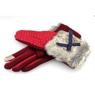 Dámské puntikované rukavice s kožešinou Červené Artofpolo CARREK107CZE