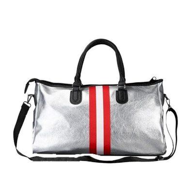 Stříbrná cestovní taška s červenými pruhy Lifestyle CART158CZE
