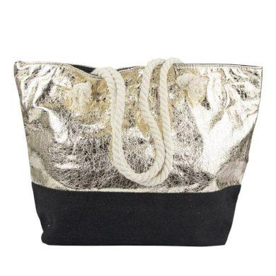 Designová Plážová taška Metalická zlatá Allepaznokcie ALLE85632-117
